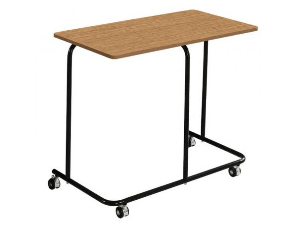Mozgatható kisasztal, tölgy/fekete, ALLYRA