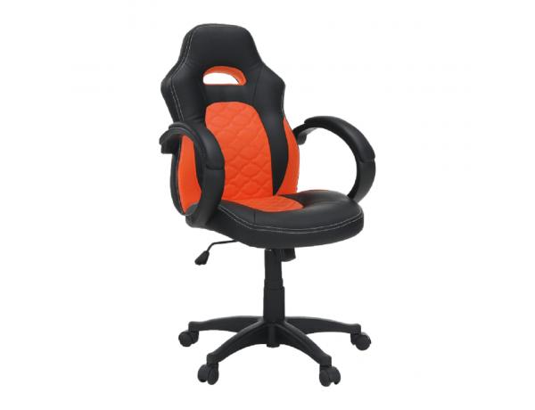 Irodai szék, textilbőr fekete/narancssárga, NELSON