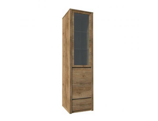 Vitrín szekrény 1- kihúzható fiókkal és osztot ajtóval-teljessen üvegezett, tölgyfa lefkas, MONTANA