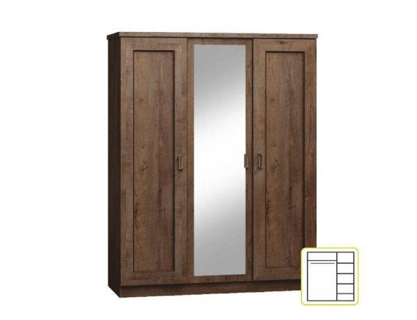 Akasztós szekrény polcokkal, tölgyfa lefkas, TEDY TYP T15
