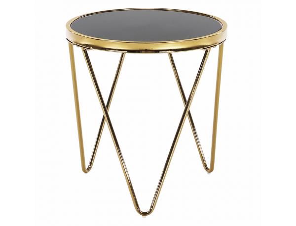 Sarok/Kisasztal, gold króm arany/fekete, VALERO