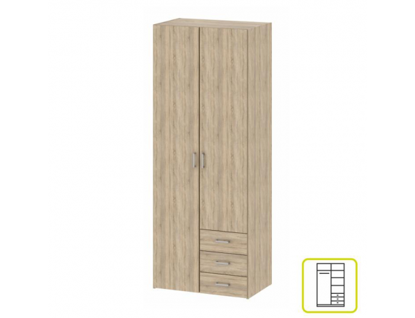 szekrény, 3 - ajtós, tölgy sonoma, GWEN 70427