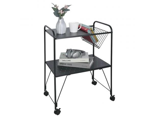 Mozgatható kisasztal, többfunkciós, fém/műanyag, fekete, KORETE