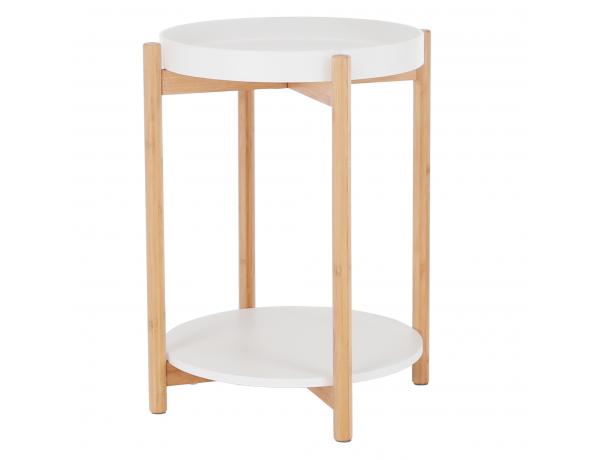 Kisasztal levehető tálcával, fehér/természetes, KABRA