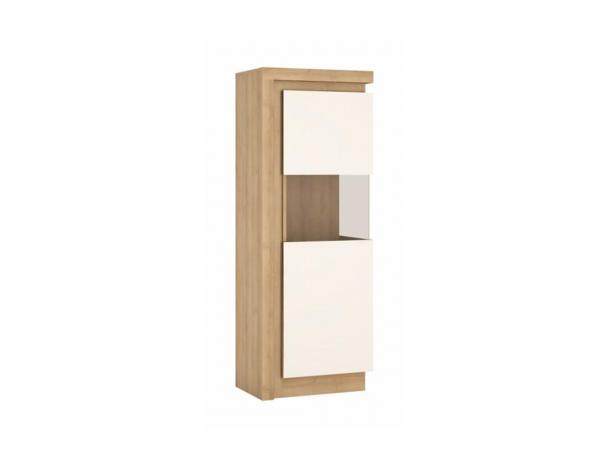 Vitrines szekrény LYOV01L, tölgy riviera/fehér extra magasfényű, LEONARDO