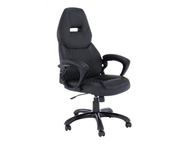 Irodai szék, fekete műbőr, HEVYR