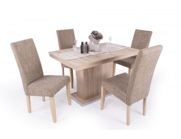 Berta étkező Flóra asztallal (4 személyes) sonoma-világos zsákszövetes